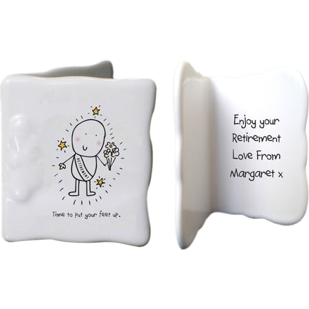 Personalised Chilli & Bubbles Retirement Ceramic Message Card