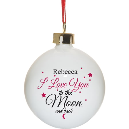 Personalised To The Moon & Back Christmas Tree Ceramic Bauble