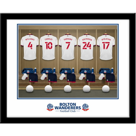 Personalised Bolton Wanderers FC Dressing Room Shirts Framed Print