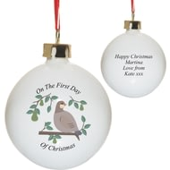 Personalised Partridge In A Pear Tree Bone Ceramic Bauble