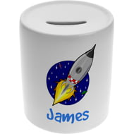 Personalised Boys Rocket Ship Ceramic Money Box