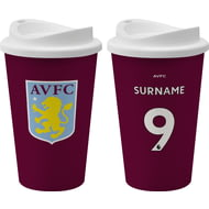 Personalised Aston Villa FC Back Of Shirt 350ml Reusable Tea / Coffee Cup