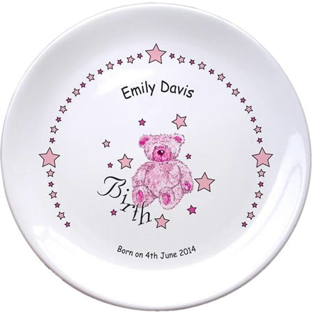 "Personalised Teddy & Stars Pink Birth 8"" Bone China Coupe Plate"