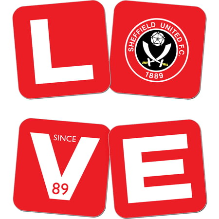 Personalised Sheffield United Love Coasters (x4)