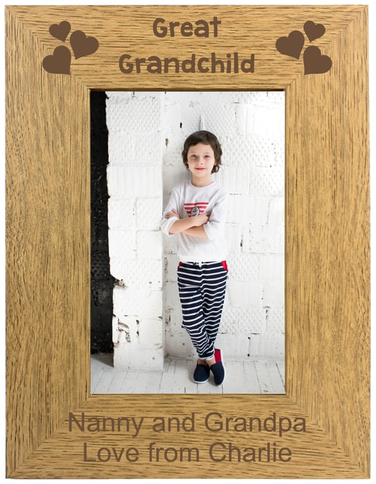 Personalised Great Grandchild Portrait Wooden Photo Frame 4x6 5x7