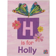 Personalised Very Hungry Caterpillar Initial Butterfly Canvas