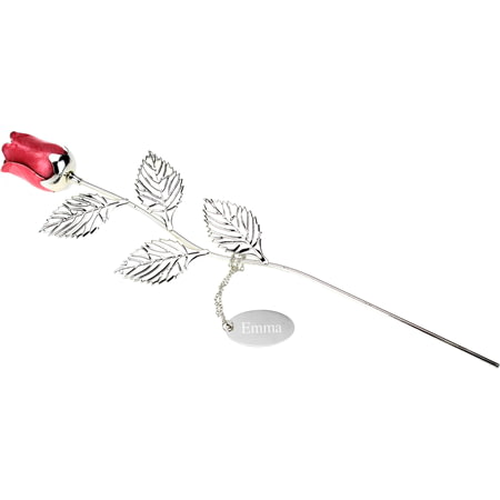Personalised Engraved Silver Plated Pink Rose - 32cm