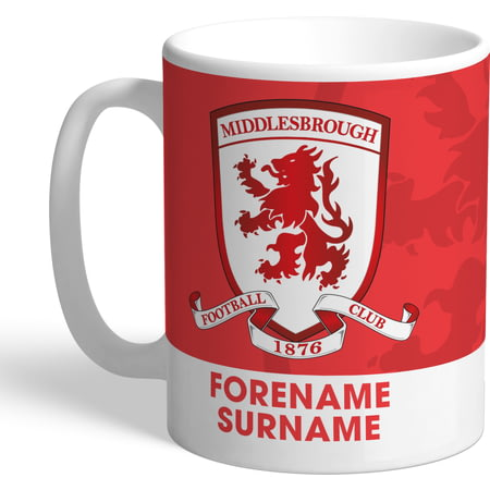 Personalised Middlesbrough Bold Crest Mug